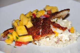 Recipe: Pan-Seared Cod with Mango Salsa Ingredients 1 mango, peeled and diced 1/2 cup red pepper, diced 1 tablespoon finely chopped jalapeno 1/3 cup diced red onion 1 tablespoon lime juice 1/3 cup roughly chopped cilantro leaves Salt and pepper…